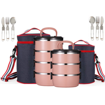 Bento Lunch Box Stainless Steel Thermal Insulated Food Storage Containers - 3 or 4 Tier - in Pink